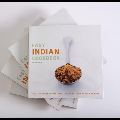 Signed Cookbook 'Easy Indian Cooking' Manju Malhi & Spice Tin, 10 Spices & Handmade Silk Sari Wrap